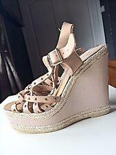 Miss Selfridge Ladies Designer High Heel Platform Wedge Sandal Leather Size 5 38