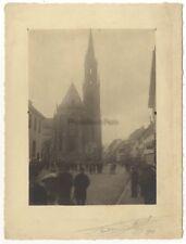Thann Scène de rue et cathédrale France Photo Vintage argentique signée 1914