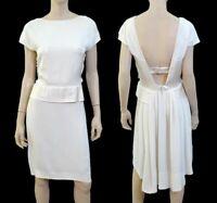CHLOE Ivory White Silk V Back Peplum Waist Sheath Dress 12