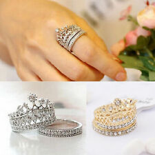 New Women's Queen Crown Pattern Ring Rhinestones Two-piece Rings Natural Gift