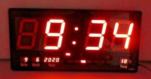 Digital 18 Inches Large  LED Wall Desk Alarm Clock Calendar Temperature