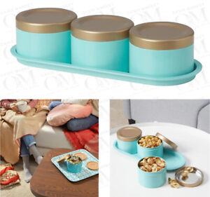 Set of 3 Coffee Tea  Sugar Storage Tin Canister Dry Fruit Nuts Jewellary Sewing