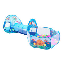3-in-1 Pop up Kids Play Tent with Tunnel & Ball Pit for Kids Boys, Girls - A
