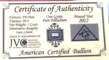 x5 ACB SOLID Palladium PD BULLION 1Grain BAR 99.9 CERTIFICATE OF AUTHENTICITY <