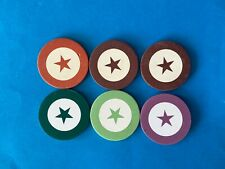 6  Chips STAR INLAID SET POKER, WHEEL & FARO V RARE RATED