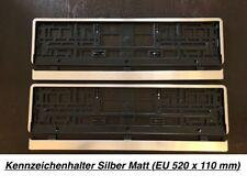 2x Premium Kennzeichenhalter Silber Matt Chrom Optik Gebürstet Made in EU