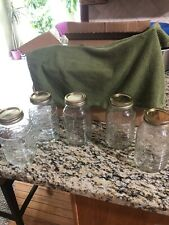 Longaberger Set of Five Blue Ribbon Collection Quart Canning Jars with Rings New