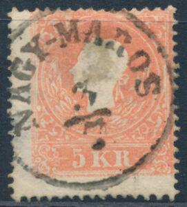 ÖSTERREICH 1858 5kr, Type II. EXTREM VERZÄHNT! NAGY-MAROS (Ungarn) Mü:60P!