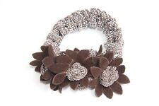 Women Brown Hair Band with Three Flowers and Silvery Supplements ONE SIZE (S271)