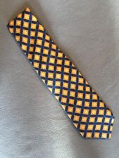 Copperstone Tie 100% Silk Yellow And Blue Pattern Vintage Excellent Condition