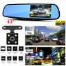 Dual Lens 4.3'' 1080P Car Auto DVR Mirror Dash Cam Recorder+Rear View Camera Kit