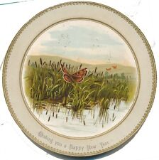 Fab Victorian New Year Round Greeting Card, Butterflies, Sgd. F.A. Stewart