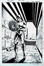 THE FLASH DC Original Comic Art FULL SPLASH PAGE in costume Pre Flashpoint