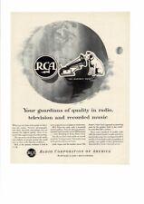 VINTAGE 1953 RCA VICTOR TELEVISION TV RADIO PHONOGRAPH DOG MASTERS VOICE AD PRIN
