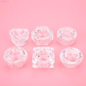 Crystal Clear Glass Dappen Dish Cup w/ Lid For Nail Art Acrylic Liquid Powder