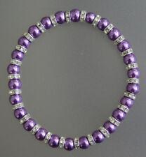 Elastic Glass Pearl & Diamante Rondelle Bead Bracelet 6mm - 12 Colours