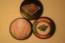 Minnesota Wild Hat Trick Three Official NHL Licensed Pucks Basic-Stitch-Retro