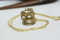 Antique 1900's Victorian Carnelian Elephant Pendant 10K Yellow Gold Necklace 18""