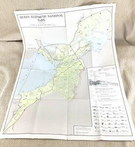 1961 Vintage Map of Uganda Queen Elizabeth National Park Zoology Zoological