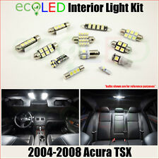 Fits 2004-2008 Acura TSX WHITE LED Interior Light Accessories Package Kit 8 Bulb