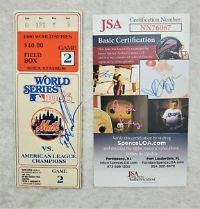 Dwight Gooden Doc Autographed Signed 1986 WS Ticket Stub Game 2 JSA Certified