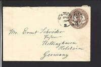 NEW YORK,NEW YORK,1893 COVER TO GERMANY, 5CT COLUMBIAN ENTIRE, BACKSTAMPED.