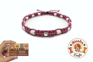 Tick-Collar for Dogs, Em Ceramic Paracord, Collar SIZE XS - XL, Raspberry