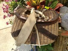 Antique Fishing Creel Fly Wicker / Leather Bait Basket W/Strap Vintage