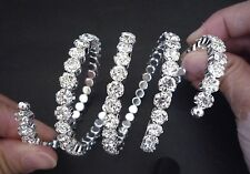 Adjust Stretch Elegant 4Row White Rhinestone Cuff Bracelet Arm Bracelet BB12
