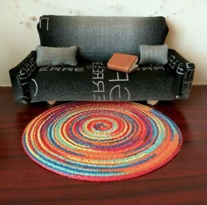 Dollhouse rug, round colorful miniature pad for diorama. 7 inch bohemian African