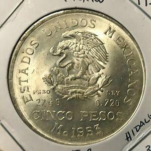 1953 MEXICO SILVER 5 PESOS BRILLIANT UNCIRCULATED CROWN COIN