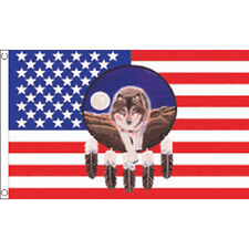 Usa Feather Wolf Flag 5Ft X 3Ft America American Banner With 2 Eyelets New