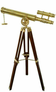 Antique Marine Brass Telescope 18 Inch with Wooden Tripod Stand Nautical Decor