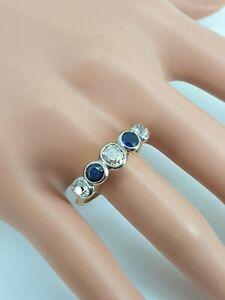 Deco 1930's 18ct Gold 5 stone Eternity Ring 1.5c Sapphire & Diamond Size T NICE1