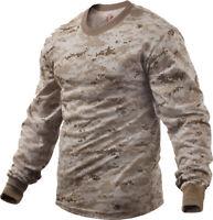 Mens Desert Digital Camouflage Long Sleeve Tactical Military T-Shirt