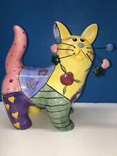 Ceramic Cat Bank Hand Painted Includes Stopper Wire Decorated Whiskers 8x8x4