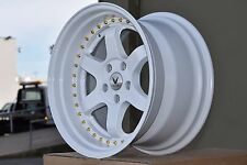 18X10.5 +20 WHITE TE37 REP 5X114.3 WHEELS FIT STAGGERED STANCE 5X4.5 NISSAN