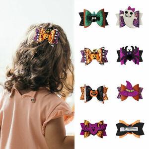 Halloween Hair Accessories Grips Clips Hair Bows Printed Hair Clips  Girls Kids