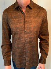 JOHN VARVATOS Men/'s Black Coated Denim Front Button Long Sleeve Shirt 2XL XXL