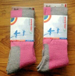 2 pairs Manbi Fuchsia/Grey Snow-tec Ski Socks Adult SIZE 7-9. EU 41-44