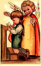 "Vintage Netherlands Postcard Praying Young Boy & an Angel 3.5"" x 5.5"""
