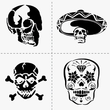 "4 SKULLS STENCIL TEMPLATE MEXICAN HAT SUGAR SKULL CRAFT NEW 12"" x 12"" by FOLKART"