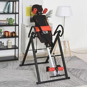 HOMCOM Steel Adjustable Gravity Inversion Table w/ Safety Belt Red/Black