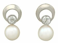 Vintage 0.40 ct Diamond and Cultured Pearl 14k Yellow Gold Stud Earrings