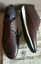 MASSIMO DUTTI MEN'S SS  BROWN LEATHER BROGUE SNEAKERS US-11 REF.8111/222  NEW