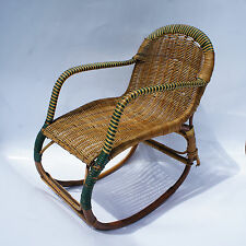 Fauteuil Rocking Chair Enfant Erich Diekmann Bauhaus 1930 Rotin et Bambou