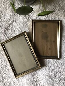 Pair Matching vintage Picture frames standard Size Gold Colored