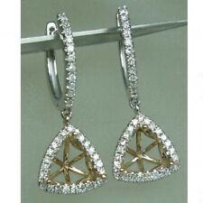Trillion 7×7mm Natural Diamond Halo Dangle Earrings Semi Mount 14K White Gold