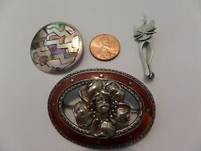 3 LOT STERLING SILVER BROOCHES PINS BEAU CAT TAXCO ABALONE & MORE