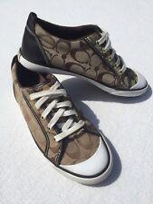 COACH Women's Size 8 B Barrett Casual Fashion Sneakers Shoes Khaki/Chestnut EUC